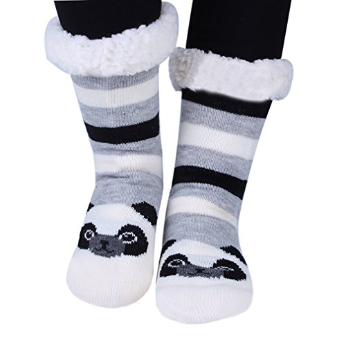 Fuzzy Warm Womens Socks Stockings Knee Slip Slipper light Cartoon Non Kokkn Gray Highs Panda Animal AgfwxSHwCq