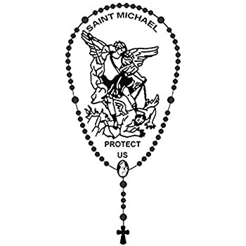 Archangel Saint St Michael Protect Us Rosary Metallic Car Auto Decal, 4 3/4 Inch