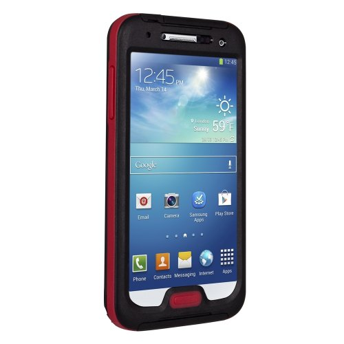 Seidio CSWSSGS4-BROBEX Waterproof Case for Samsung Galaxy S4 - Retail Packaging - Black/Red