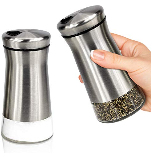 Elegant Salt and Pepper Shakers With Adjustable Pour Holes - Gorgeous Stainless Steel Salt and Pepper Dispenser Set - Perfect For Your Sea, Kosher Or Himalayan Salt