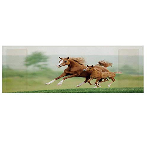 Horse Decor Microwave Oven Cover with 2 Storage Bag,Running Chestnut Horses Mare and Foal Meadow Scenic Summer Day Outdoors Cover for Kitchen,36