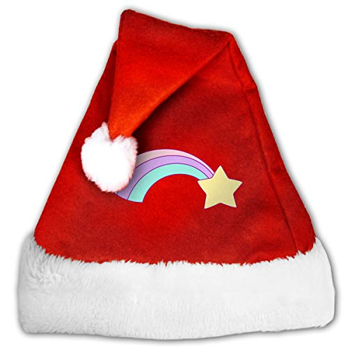 FGHJKL Unicorn Clipart Glitter 7 Plush Santa Hat Comfortable Double Thick Plush Red Velvet Cap]()