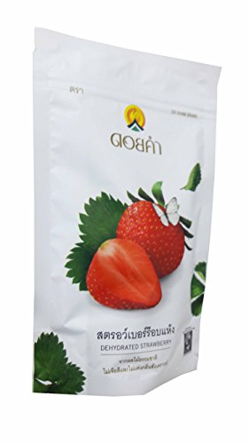 2 Packs of Dehydrated Strawberry, Made From Real Strawberry, Delicious Snack From Doi Kham Brand, Royal Project Product from Thailand. Natural Color and Flavor Added. (140 g/ (Halloween Date Usa)
