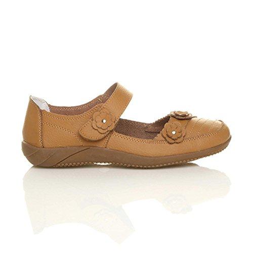 Un Sandales Cuir Velcro Brun Confort Classique Chameau Chaussures Femme Fermeture Clair Marche De Pour w01fI