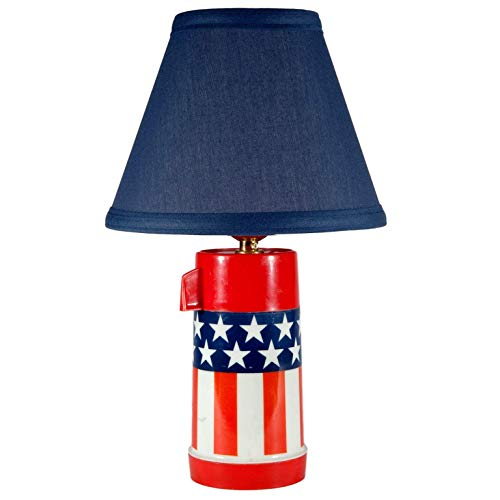 Vintage Stars & Stripes Up-cycled Thermos Lamp with New Blue Fabric Lamp Shade Blue Stripe Table Lamp