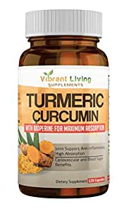 Turmeric Curcumin with Bioperine 1200 mg [ 60-Day Supply ] Premium Pain Relief & Joint Support with 95% Standardized Curcuminoids. Non-GMO, Gluten Free Turmeric Capsules with Black Pepper (120 capsules)