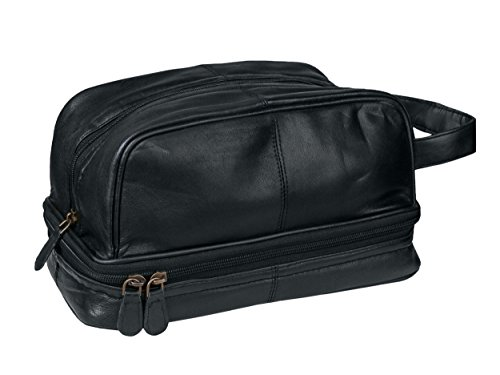 Dwellbee Classic Leather Toiletry Bag and Dopp Kit (French Morocco Leather, Black)
