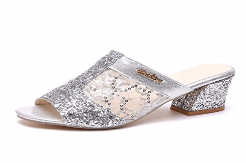 Scarpe da silvery Quelle Estive donna Basso E Estate Brillante Tallone Sandali Traspiranti HBDLH 4dwqg4