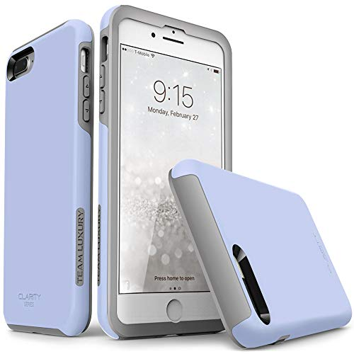"TEAM LUXURY iPhone 7 Plus case/iPhone 8 Plus case, [Clarity Series] Blue [G-II] Ultra Defender TPU + PC Shock Absorbent Protective Case - for Apple iPhone 7 Plus & 8 Plus 5.5"" (Serenity/Gray)"