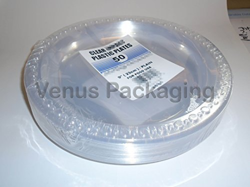 50 Clear Plastic 9'' Plates for Parties