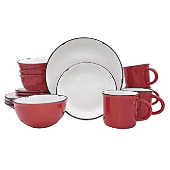 Image of Canvas Home Tinware Collection 16 Piece Dinnerware Set (Red) Dinnerware Sets