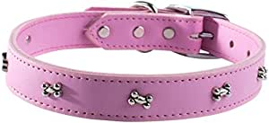 """OmniPet Signature Leather Dog Collar with Bone Ornaments, Rose, 16"""""""