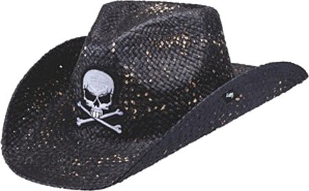 Skull Cowboy Hat (Peter Grimm Ltd Unisex Keith Straw Cowboy Hat Black One Size)