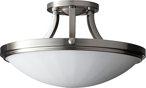 Feiss SF283BS Perry Opal Glass Semi Flush Ceiling Lighting, Satin Nickel, 2-Light (16