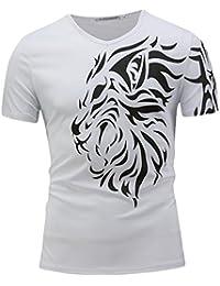 Men's Basic V Neck Shorts Sleeve Workout Cotton Shirts