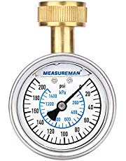 "Measureman 2-1/2"" Water Pressure Test Gauge, 3/4"" Female Hose Thread, 0-200 psi/kpa"