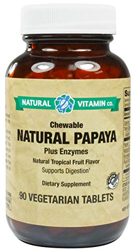 Natural Vitamin Co. - Chewable Natural Papaya Enzymes, Natural Tropical Fruit Flavor, Plant Enzyme Blend, 90 Tablets, 45 Servings, Gluten Free, Vegetarian, Vegan