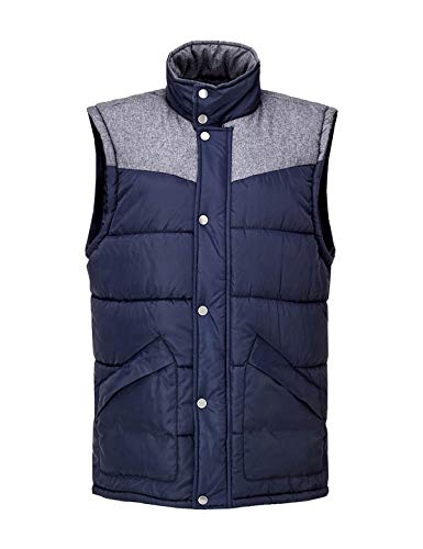 (Escalier Men's Lightweight Active Quilted Padding Puffer Vest Winter Warm Gilet Navy Large)