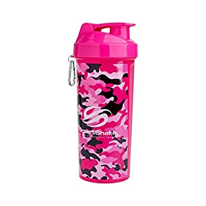SmartShake LITE Bottle, 33 oz Shaker Cup, Pink & White Camouflage