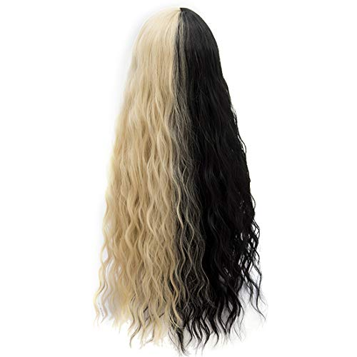 Probeauty Halloween Collection 75cm Mix Color Gothic Long Curly Wavy Ombre Hair Synthetic Cosplay Wig+Cap (75cm Curly Central Part Black Mix Blonde)