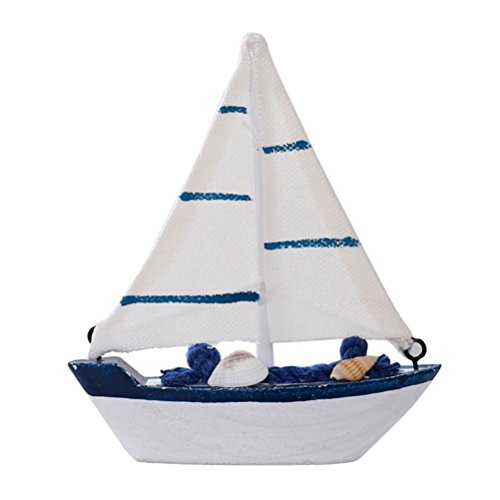 Finance Plan Clearance Sale Mediterranean Style Marine Wooden Blue Sailing Boat Art Decoration Ornament Gift