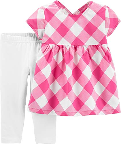 - Carter's Baby Girls Gingham Plaid Capri Leggings Set 18 Months Pink/White