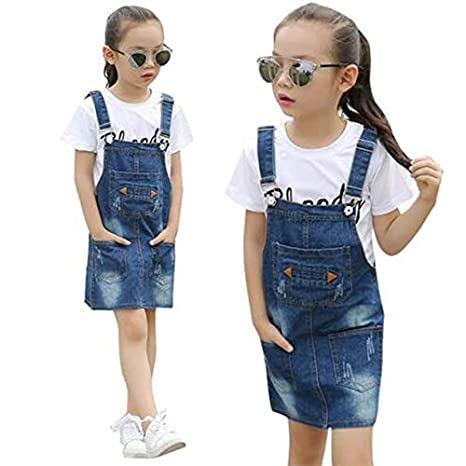 754c618f0178 New Trends Baby Girl's Denim Dress Clothing for 3-10T Girls Infant Kids  Summer Fashion Teenager Belt: Amazon.in: Health & Personal Care