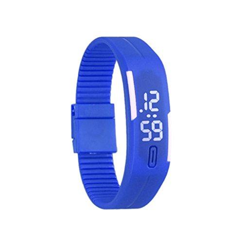 Bolayu Mens Womens Rubber LED Sports Waterproof Watch Bracelet Digital Wrist Watch Blue