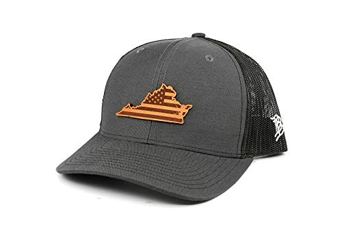 (Branded Bills 'Virginia Patriot' Leather Patch Hat Curved Trucker- OSFA/Charcoal)