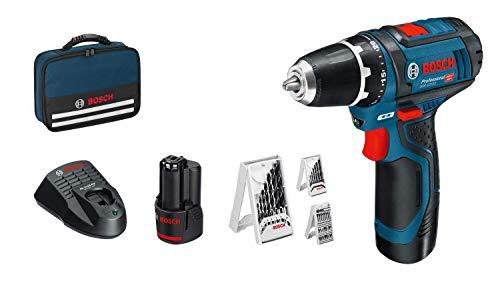 Bosch Professional GSR 12V-15 ystem Atornillador, Incl. 2 x 2.0 batería + Cargador, 39 pcs. Juego de Accesorios, en Bolsa, Amazon Edición, 12 V, Azul