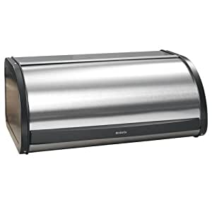 Brabantia Roll Top Bread Box - Matte Steel Fingerprint Proof with Black Sides, 299445