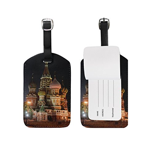 City Night Church Lights Travel Genuine Leather Luggage Tags Id Labels Holders(2 Pcs Set) by JIMO