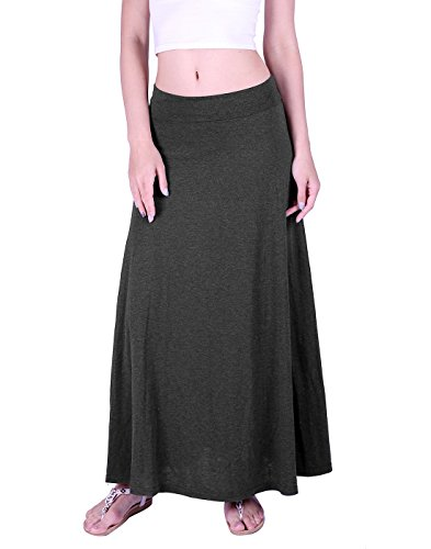 HDE Women's High Waisted Foldover Long Maxi Skirt Fall Collection (Dark Gray, X-Large) Collection Women Skirts