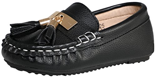 SKOEX Toddlers Cute Suede Leather Loafers Boys Girls Slip On Boat Shoes