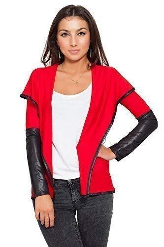 FUTURO FASHION lgance & Sensible Femmes Veste Blazer Style Cuir cologique Cardigan 8080 Rouge