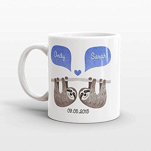 SLOTH Mug, Couple Mug, Best Selling Item, Custom Mug, Anniversary Gift for Men, Unique Coffee Mug, Personalized Mug, Coffee Cup, Animal - Glasses Shape For My Right Face