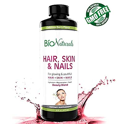 Hair Skin & Nails Liquid Vitamin Supplement by Bio Naturals | Natural Vitamin Fluid with 5000 mcg of Biotin | 8X More Absorption ? Beauty Blend ? Healthier Hair Growth, Glowing Skin & Stronger Nails