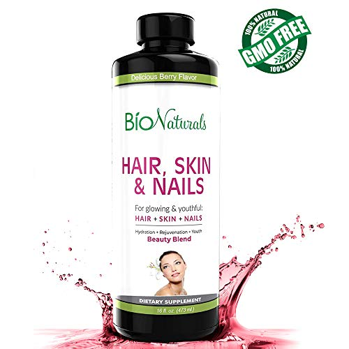 Hair Skin & Nails Liquid Vitamin Supplement by Bio Naturals | Natural Vitamin Fluid with 5000 mcg of Biotin | 8X More Absorption ● Beauty Blend ● Healthier Hair Growth, Glowing Skin & Stronger Nails (Phytoceramides Without Vitamins)