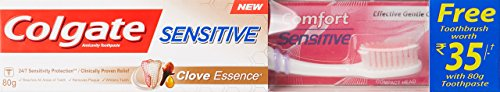 Colgate Sensitive Clove Essence Toothpaste – 80 g with Free Toothbrush Worth 35