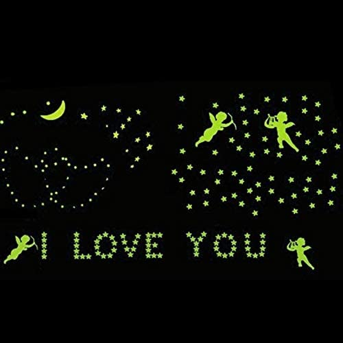 Belegend 180Pcs Stars Glow in The Dark Luminous Fluorescent Plastic Wall Decoration for Kid Home for Wedding
