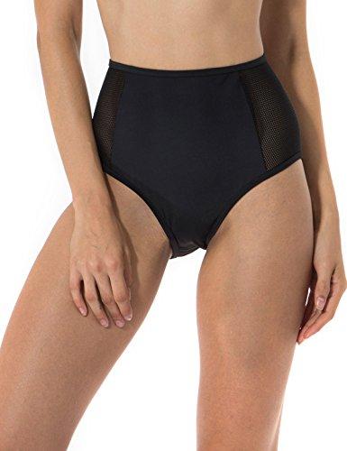 RELLECIGA Women's Mesh-inset High Waist Bikini Bottom M Black
