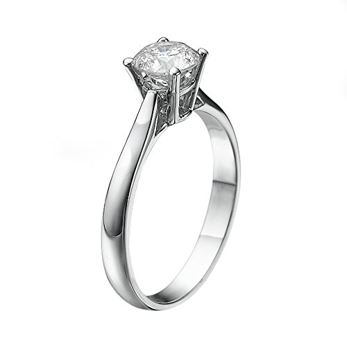 6.50MM Forever One D-F VS Moissanite Engagement Ring (0.86 ct Moissanite Weight, 1.00 ct dew) Classic Cathedral 14K Gold