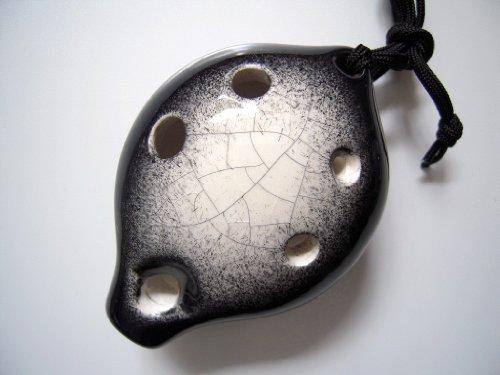 - Black Diamond Alto C 6 Holes Ceramic Ocarina - Black Base W. Nebulous White Transparent Marble Crackle Glaze - Easy to Learn, Good for Beginner & Great Gift. Linn's Arts!