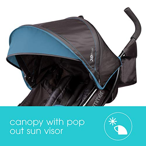 41Mfl0C7b9L - Summer 3Dmini Convenience Stroller, Blue/Black – Lightweight Infant Stroller With Compact Fold, Multi-Position Recline, Canopy With Pop Out Sun Visor And More – Umbrella Stroller For Travel And More