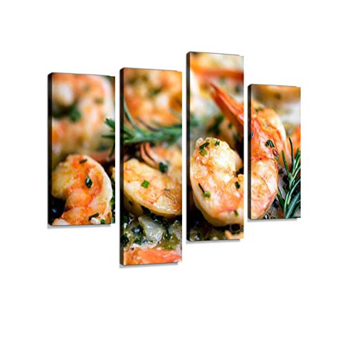 (Jumbo Shrimp Scampi Sauteeing in Butter and Olive Oil Canvas Wall Art Hanging Paintings Modern Artwork Abstract Picture Prints Home Decoration Gift Unique Designed Framed 4 Panel)