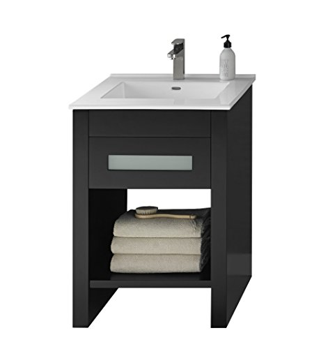 Distressed Nickel Fairmont Single Handle (RONBOW Kendra 24 inch Single Bathroom Vanity Set in Black, Bathroom Vanity Cabinet with Frosted Glass and Cabinet Shelf, White Larisa Bathroom Sink Top with Single Faucet Hole)