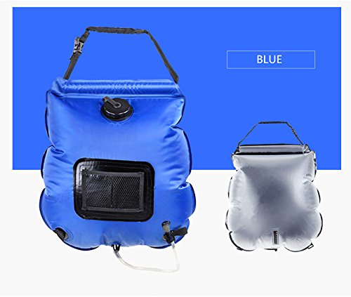 nex&co Solar Camp Shower Bag 5 Gallons Portable Solar Water Heating Summer Sun Shower Backpack with Removable Hose and Shower Head for Outdoors Camping Hiking Climbing Fishing, Blue