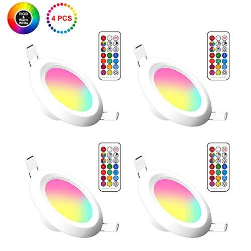 Lemonbest 4 Pack Color Changing 5W LED Ceiling Downlight Recessed Lighting kit for Decoration Lighting lamp 110V with Safe Built- in Transformer Remote Controller (RGB+ Warm White)