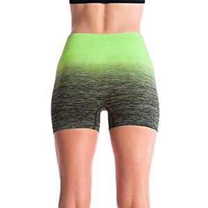 Homma Women's Seamless Compression Ombre Yoga Shorts Running Shorts Slim Fit (MEDIUM, BLACK/N.GREEN)