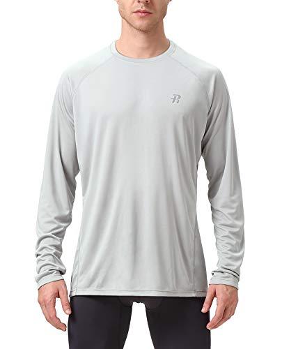 Runhit Long Sleeve T-Shirts for Men,Outdoor UPF 50+ Sun UV Protection Dri-fit Workout-and-Training-Shirts,Rash Guard Hiking Running Fishing Shirts for Men ()